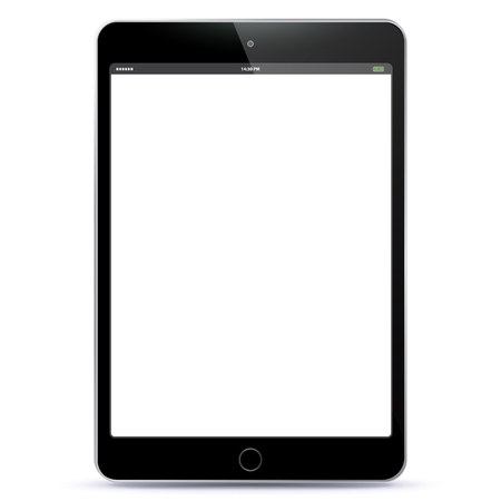Vector illustration Tablet PC with blank black screen. Vectores