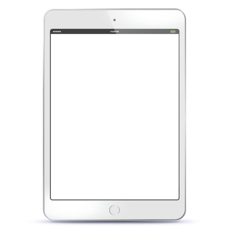 White Tablet PC with blank screen Vector illustration.