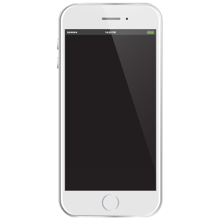 isolated on a white background: Realistic Vector Mobile Phone - White