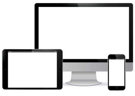 tablet: Computer Screen, Tablet PC, Mobile Phone Vector illustration. Illustration