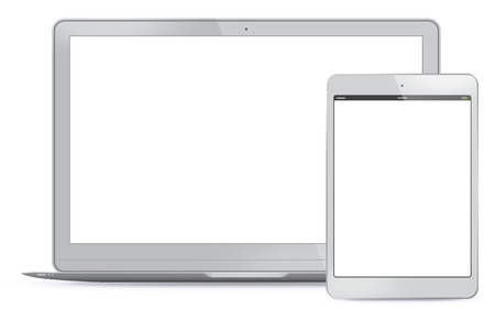 tablet: Vector illustration Notebook and Tablet PC.