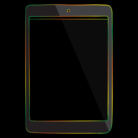 tablet pc in hand: Tablet PC Multicolored Line Icon isolated on black background.