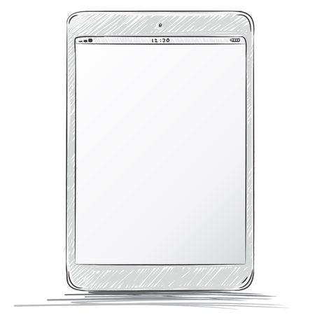 cut out device: Tablet computer drawing.