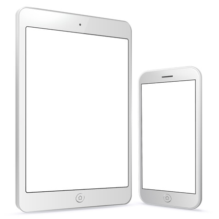 White Tablet Computer and Mobile Phone vector illustration. Ilustrace