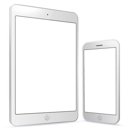 White Tablet Computer and Mobile Phone vector illustration. Illusztráció