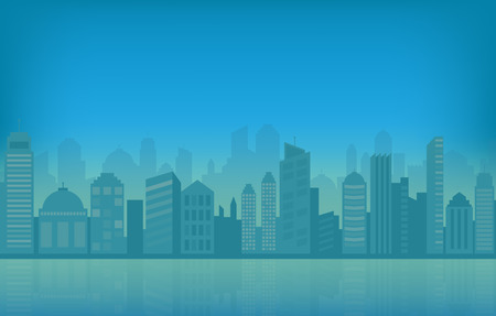Paisaje urbano y horizonte de la ciudad ilustración vectorial con edificios urbanos azules y silueta. Foto de archivo - 74192501