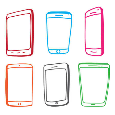 tablet pc in hand: Mobile Phone and Tablet Computer Vector illustration isolated on white