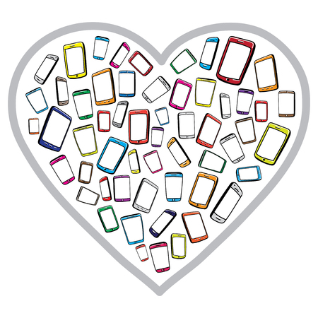 mobile phones: Handrawn Mobile Phones and Digital Tablets With Heart Shape.