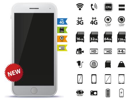 retina display: Mobile Phone and Icons Set Vector Illustration. Illustration