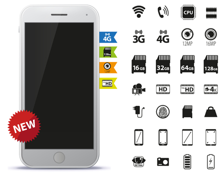 Mobile Phone and Icons Set Vector Illustration. Illustration