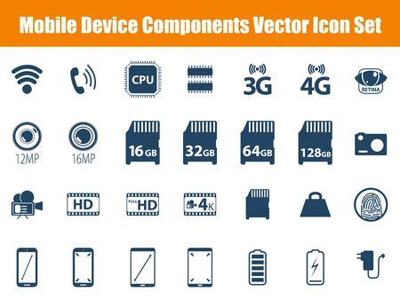 retina display: Mobile Device Components Vector Icon Set