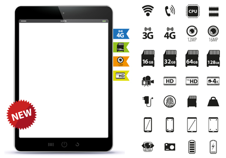 Tablet PC and Icons Set Vector Illustration Illustration