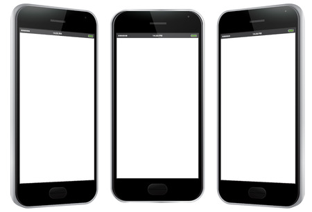 Black Mobile Phone Vector Illustration - Different views.