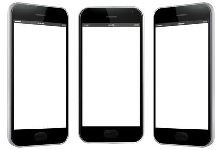 Black Mobile Phone Vector Illustration - Different views.