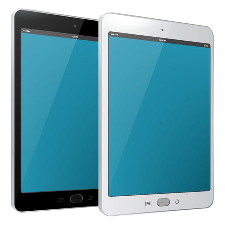 Tablet PC vector illustration - Black and White.