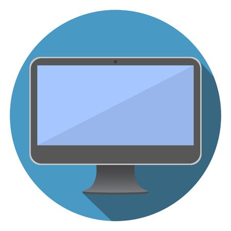 computer screen: Flat Screen Computer Icon Vector Illustration