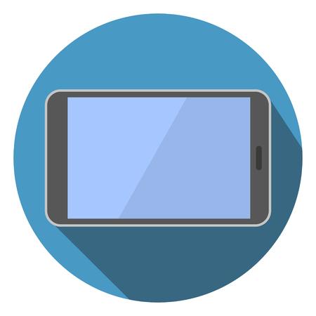 Horizontal Flat Tablet Computer Icon Vector Illustration