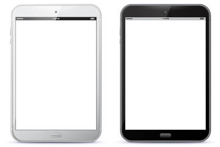 Black and white Vector Illustration of the Tablet PC.