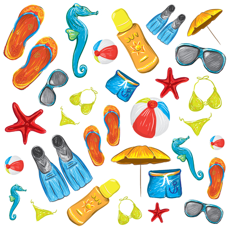 Beach Accessories Colorful Summer Background Vector Illustration Illustration