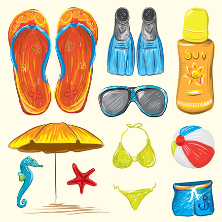Beach Accessories Colorful Hand Drawn Vector Illustration Illustration