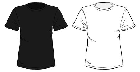 Illustrazione disegnata a mano di vettore delle magliette in bianco e nero isolata su fondo bianco.
