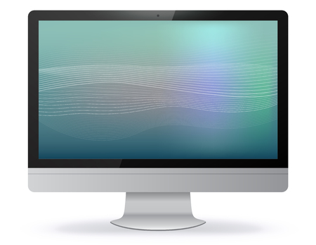 Computer Monitor Vector Illustration With Abstract Screen