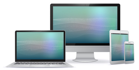 Computer Monitor, Tablet PC, Laptop, Smart Phone Vector illustration With Abstract Screen