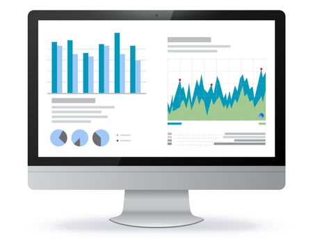 Computer Screen Illustration With Financial Charts and Graphs Screen
