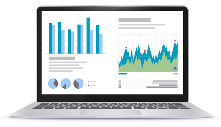 Laptop Illustration With Financial Charts and Graphs Screen