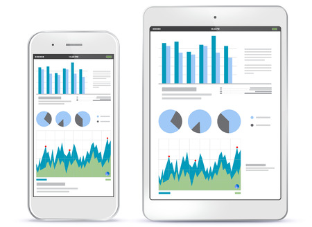 Mobile Phone and Tablet Computer Screens With Financial Charts and Graphs Ilustração