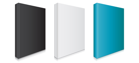 Black, White and Blue Blank Book Covers Vector Illustration