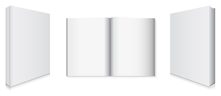 Front and Back Book Covers and Blank Pages, Vector Illustration