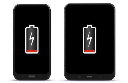 Mobile Phone and Tablet Computer With Low Battery Vector Illustration