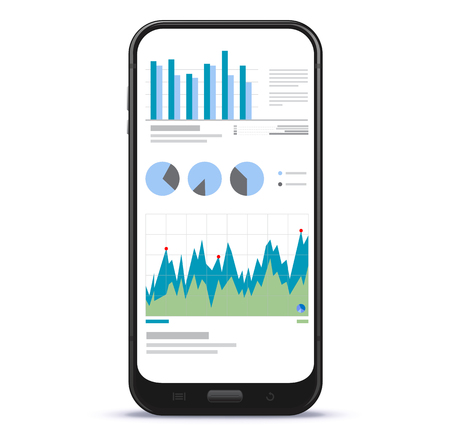 Mobile Phone Screen With Financial Charts and Graphs