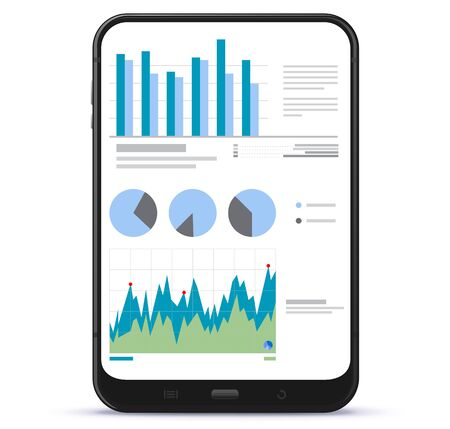 Tablet Computer Screen With Financial Charts and Graphs Ilustração