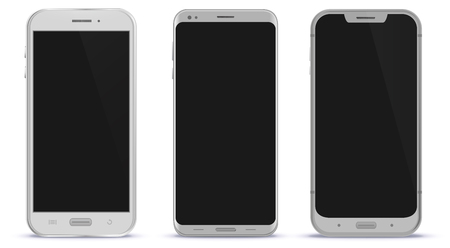 White Smart Phones Vector Illustration