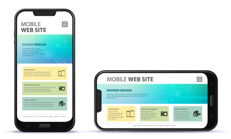 Responsive web site design with mobile phone screen.