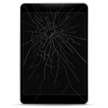 Broken Tablet Computer Vector illustration