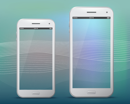 Mobile Phones With Transparent Screens Vector illustration. Ilustração
