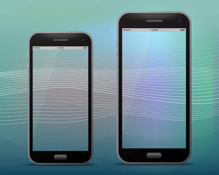 Black Mobile Phones With Transparent Screens Vector illustration.