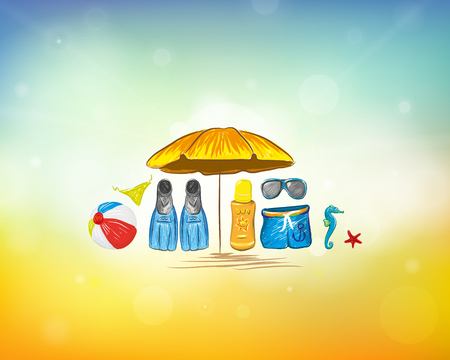 Beach Accessories With Colorful Summer Background Vector Illustration