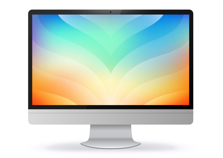 Computer Monitor With Colorful Abstract Screen Vector Illustration