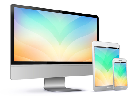 Computer Screen, Tablet PC and Mobile Phone With Colorful Abstract Screen Vector Illustration Ilustracja