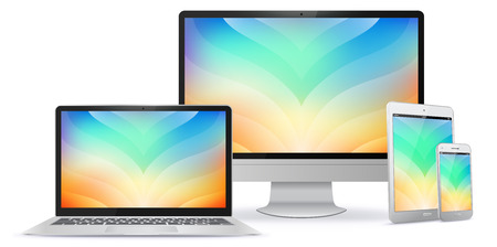 Computer Monitor, Laptop, Tablet PC and Mobile Phone Screen With Colorful Abstract Background.