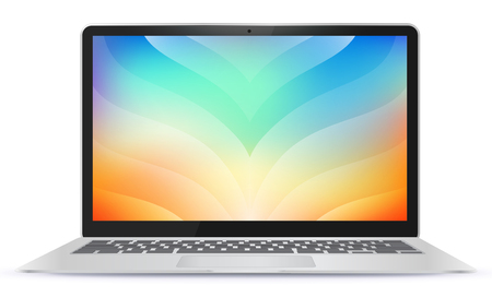 Laptop Computer With Colorful Abstract Screen Illustration.