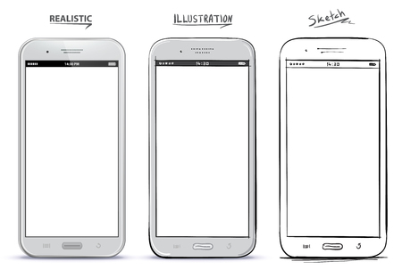 Mobile Phone Vector Drawing With Different Styles. Realistic, Illustration and Sketch alternatives.