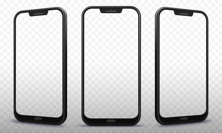 Smartphone aus verschiedenen Blickwinkeln mit transparenten Bildschirmen