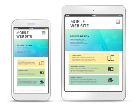 Responsive Web Site Design With Mobile Phone and Tablet Computer Screen.