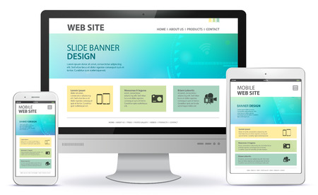 Responsive Web Site Design With Laptop, Tablet Computer and Mobile Phone Screen.