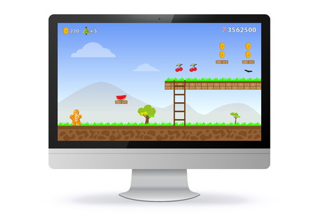 Computer Monitor With Game Screen Vector Illustration